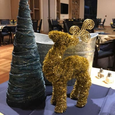 Christmas table decors at Lutherans towers' xmas party